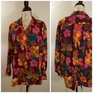David Matthew Floral Blouse Size 14 Pink Red 80s